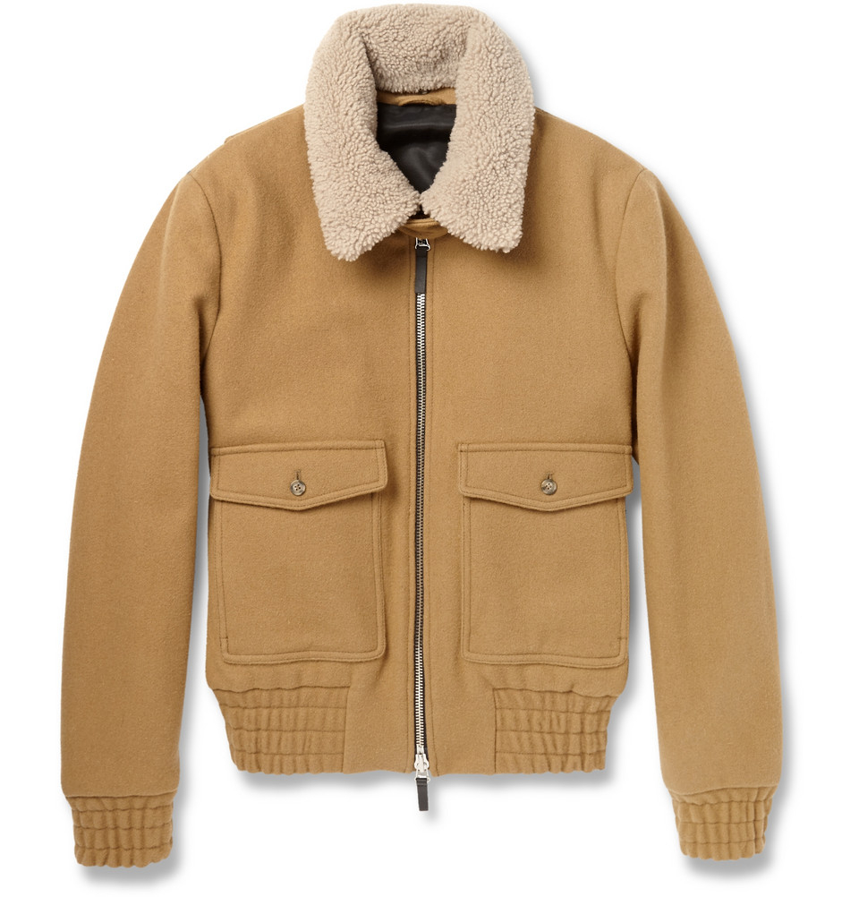 Ami-brown-shearling-collar-wool-bomber-jacket