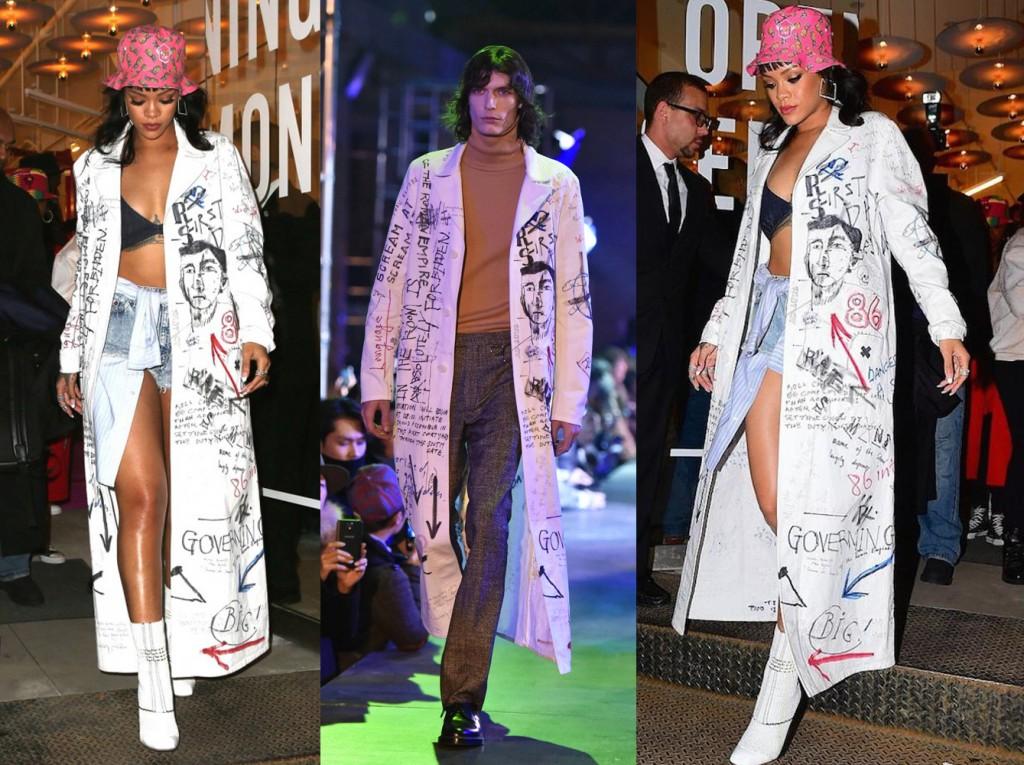 rihanna-opening-ceremony-ny-store-fall2015-raf-simmons-graffiti-coat-christian-dior-boots-PAUSE