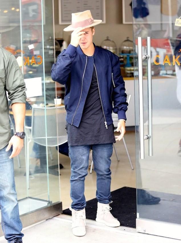 Justin-Bieber-Fear-God-jacket-Nick-Fouquet-hat-Kanye-West-Adidas-Yeezy-sneakers