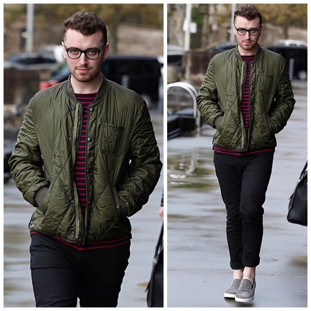 Sam-Smith-wears-Burberry-Diamond-Quilted-Bomber-Jacket-in-Slate-Green-and-Prada-suede-slip-on-sneakers-shoes-22-640x640