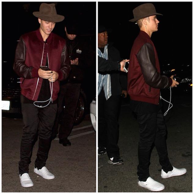 Justin-Bieber-Alexander-McQueen-burgundy-jacket