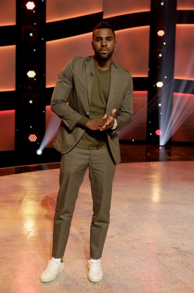 Jason-Derulo-Green-Khaki-Suit