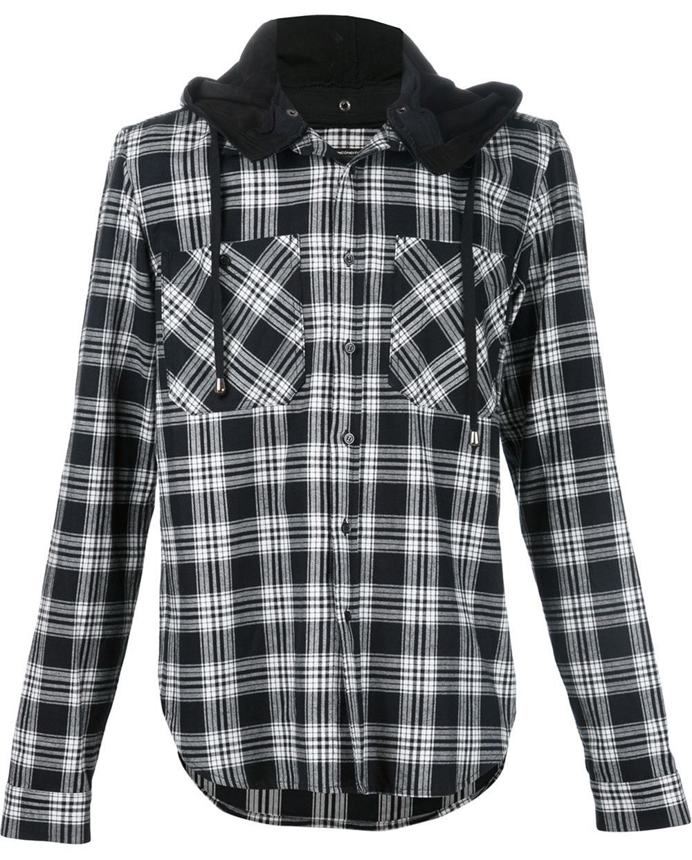Unconditional-plaid-hooded-shirt-jacket