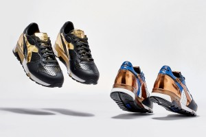 Available in Black/Gold & Bronze/Royal Blue Barneys X Diadora Trident 90 NYL