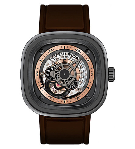 SEVEN FRIDAY P2/01 leather & rubber watch £825
