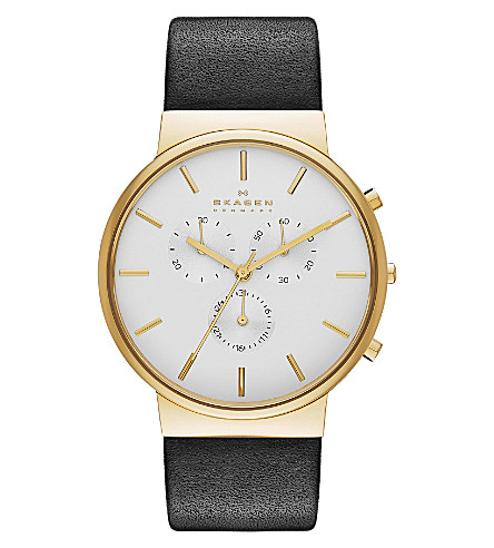SKAGEN Skw6143 ancher rose-gold plated and leather watch £185.00