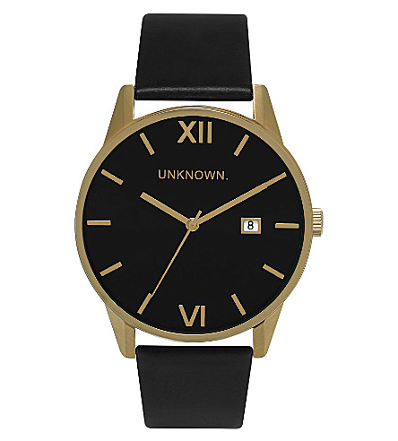 UNKNOWN Un15da07 the dandy gold-toned stainless steel and leather watch £85.00