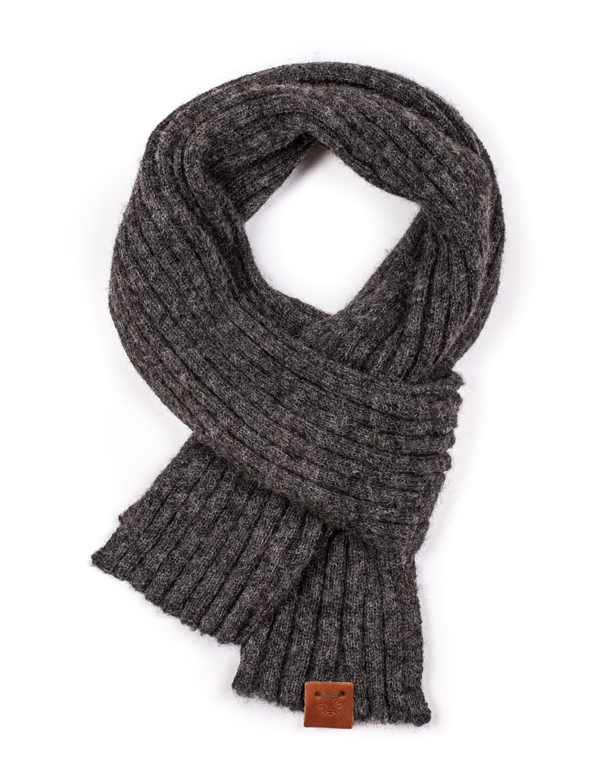Ally Bee Alpaca-scarf-charcoal-wide-rib-1