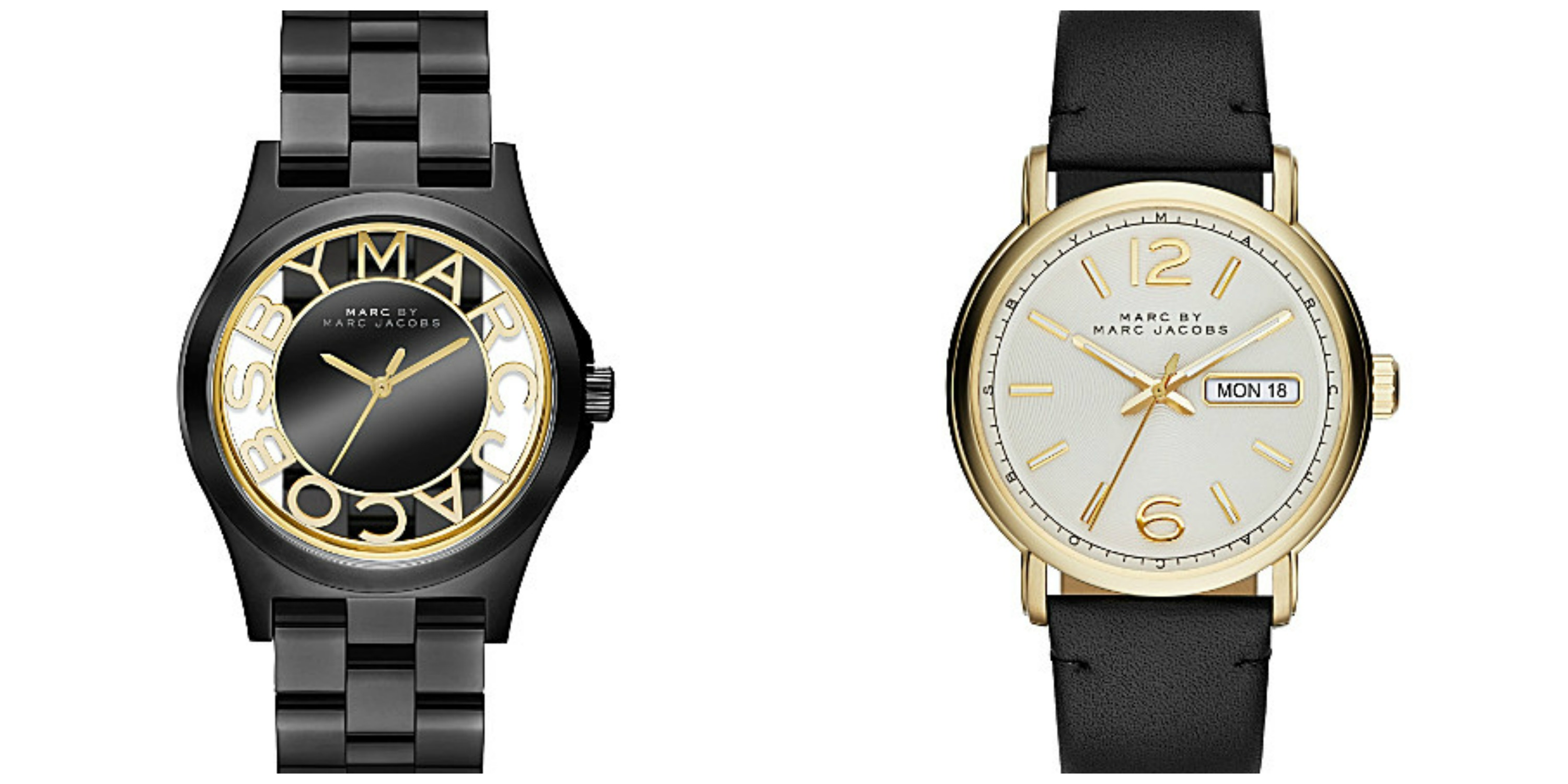 MARC BY MARC JACOBS Left: Mbm3255 henry stainless steel watch £239.00 Right: Mbm5081 stainless steel and leather fergus watch £219.00