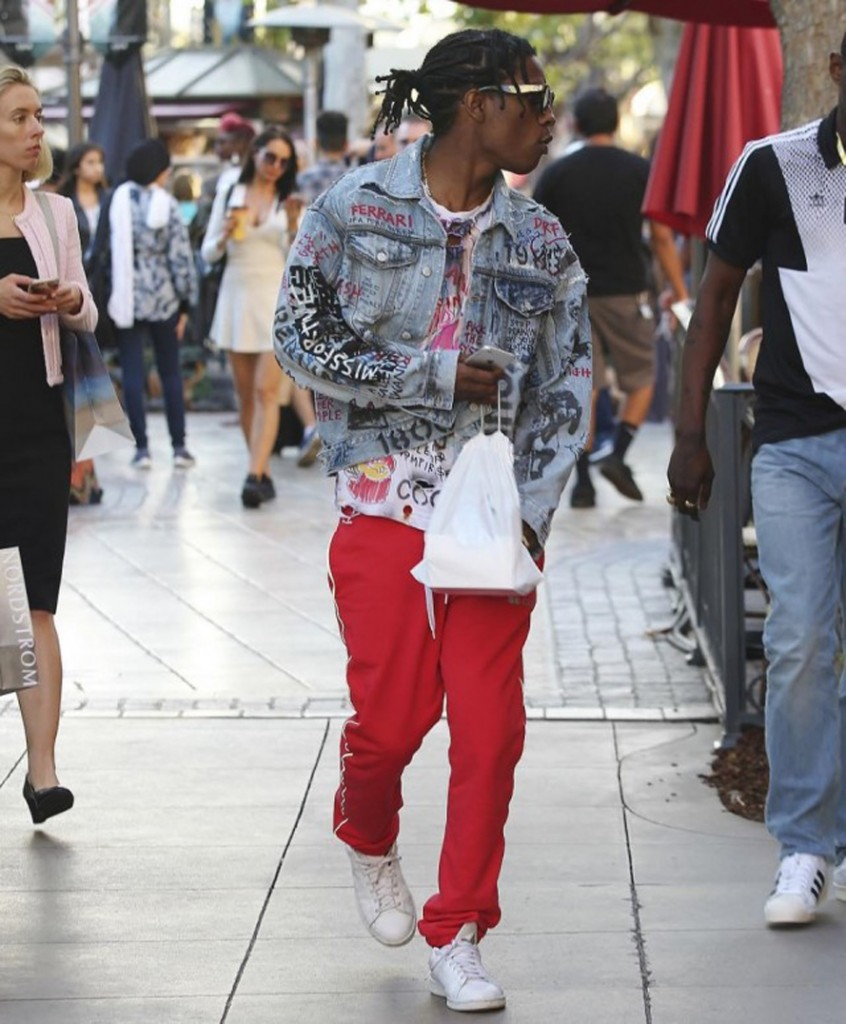 ASAP Rocky in Gosha Rubchinskiy and adidas sneakers in LA