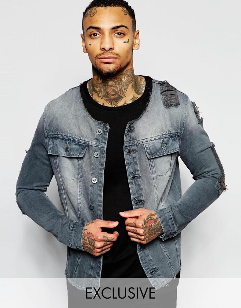 ASOS Denim distressed jacket ripped jeans blue