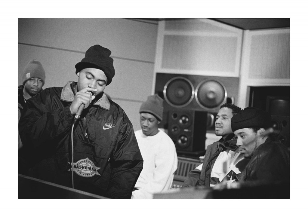 Nas in the studio during recording sessions for his first album, illmati...