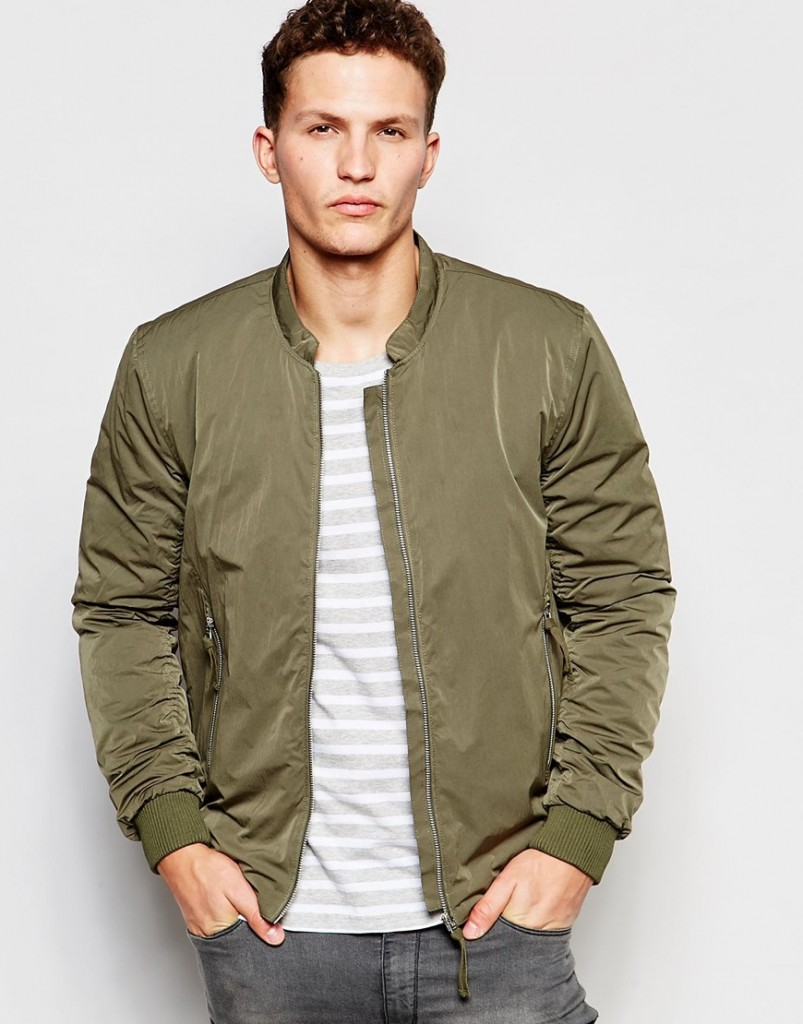 selected homme green bomber