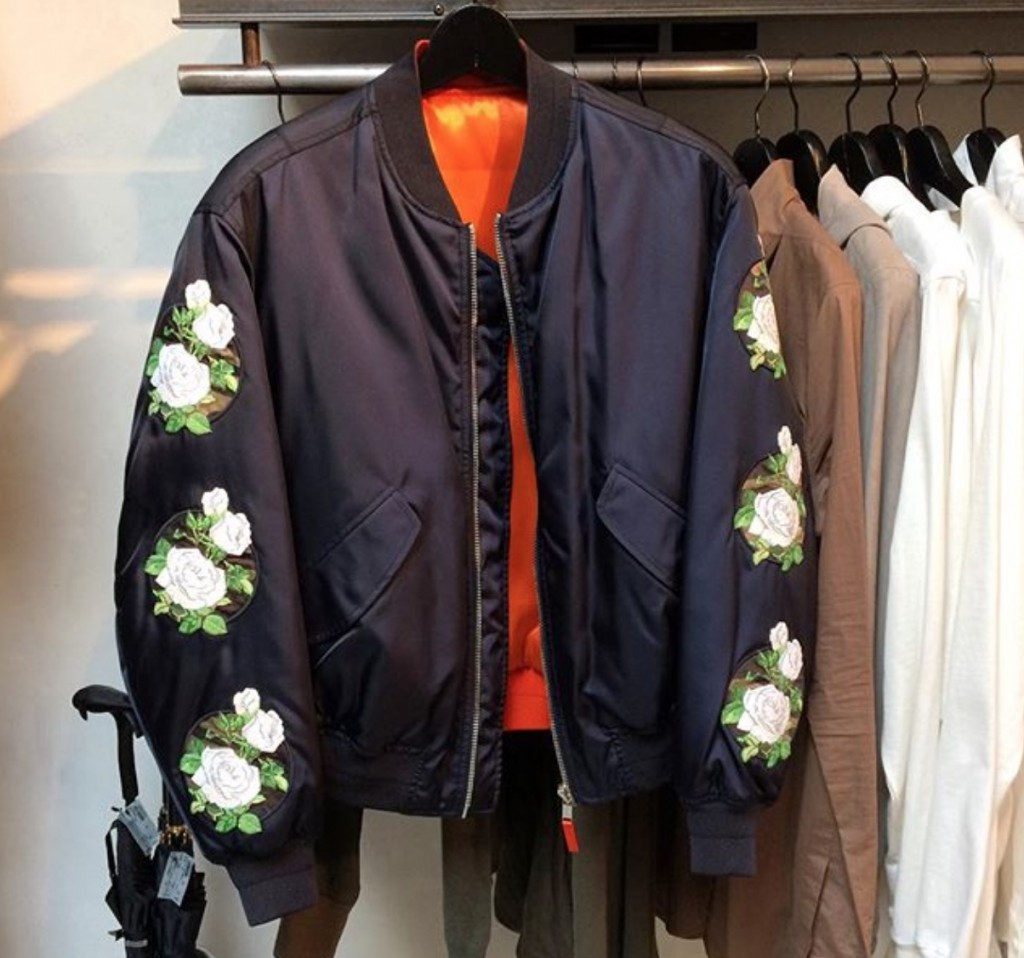 Spring/Summer 2016 Dior Homme Floral Patch Embroidered Bomber Jacket