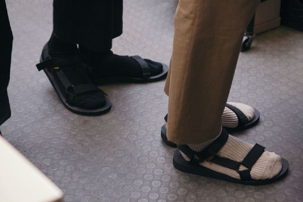 Socks and sandals at Margaret Howell SS16 LCM