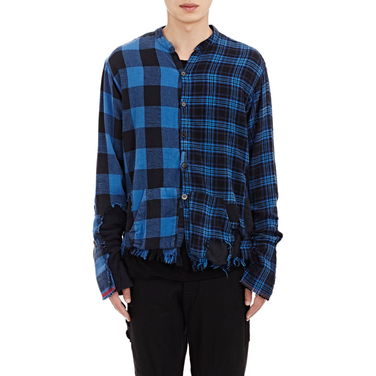 miguel blue greg lauren plaid flannel distressed shirt