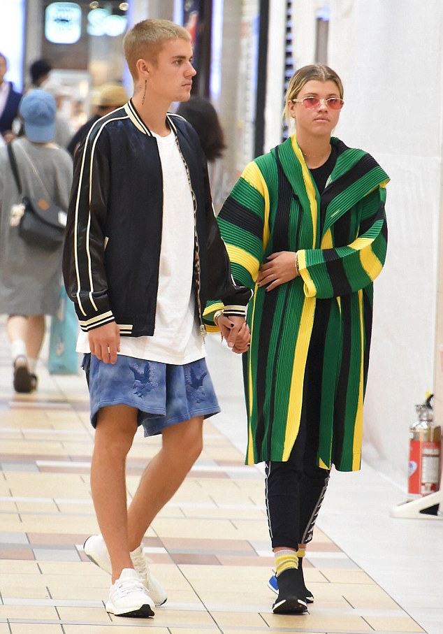 Justin-Bieber-jacket-Off-White-shorts-Adidas-sneakers