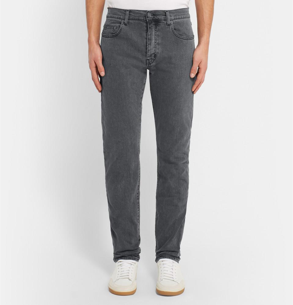 Saint-Laurent-slim-fit-17cm-hem-stretch-denim-jeans-2