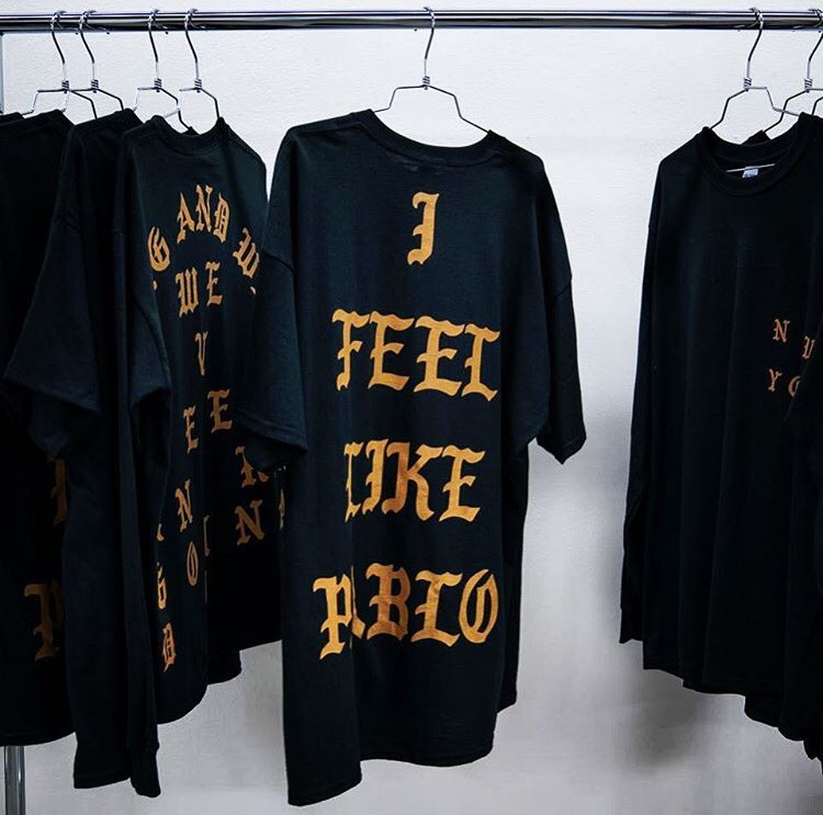 pablo pop up t shirts on rail