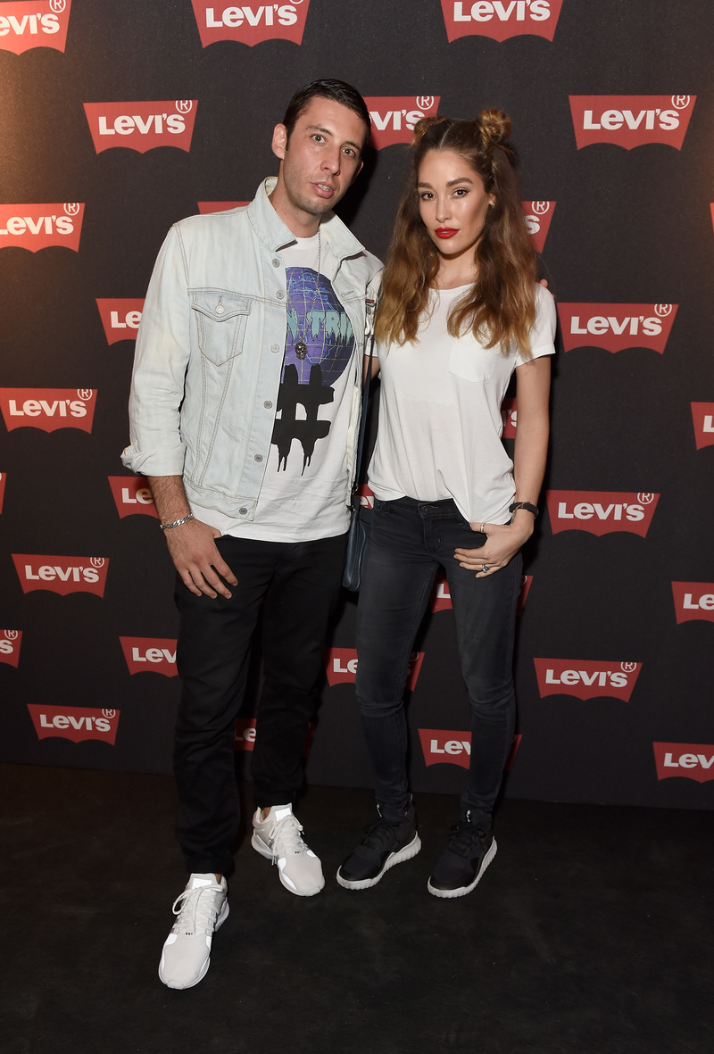 LONDON, ENGLAND - SEPTEMBER 06: Elliot Gleave aka Example and Erin Gleave attend Levi's brand announcement of the partnership with grime artist Skepta to launch the Levi's music project #Supportmusic and celebrate its partnership with the V&A, with an exclusive performance from Skepta at the Victoria and Albert Museum on September 6, 2016 in London, England. (Photo by David M. Benett/Dave Benett/Getty Images for Levi's) *** Local Caption *** Elliot Gleave;Erin Gleave