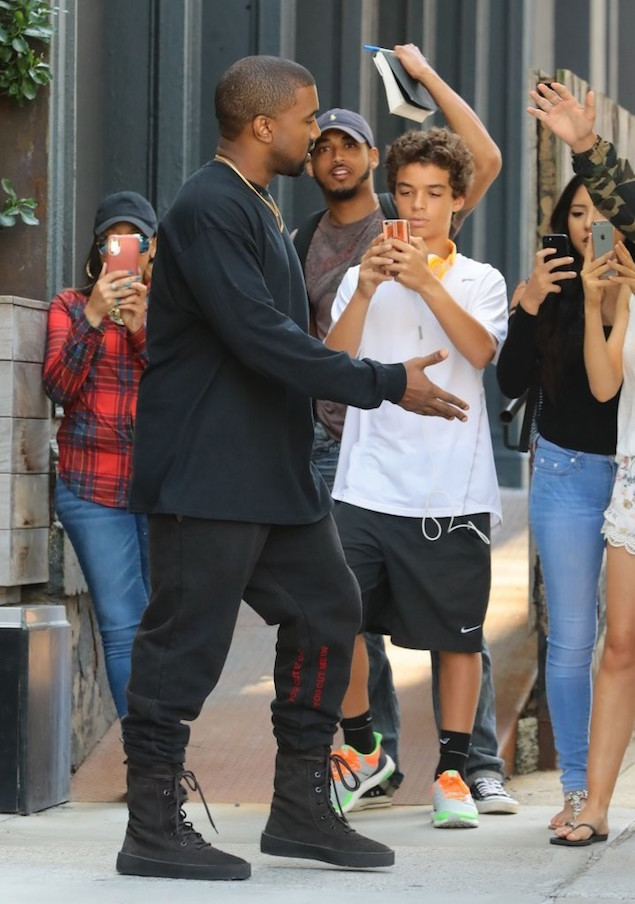 Kanye-West-Steps-Out-In-NYC-wearing-Off-White-Lounge-Sweatpants-Yeezy-Brown-Military-Crepe-Boots-Shoes