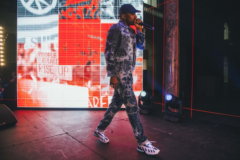 Skepta performs at the V&A wearing custom made Levis