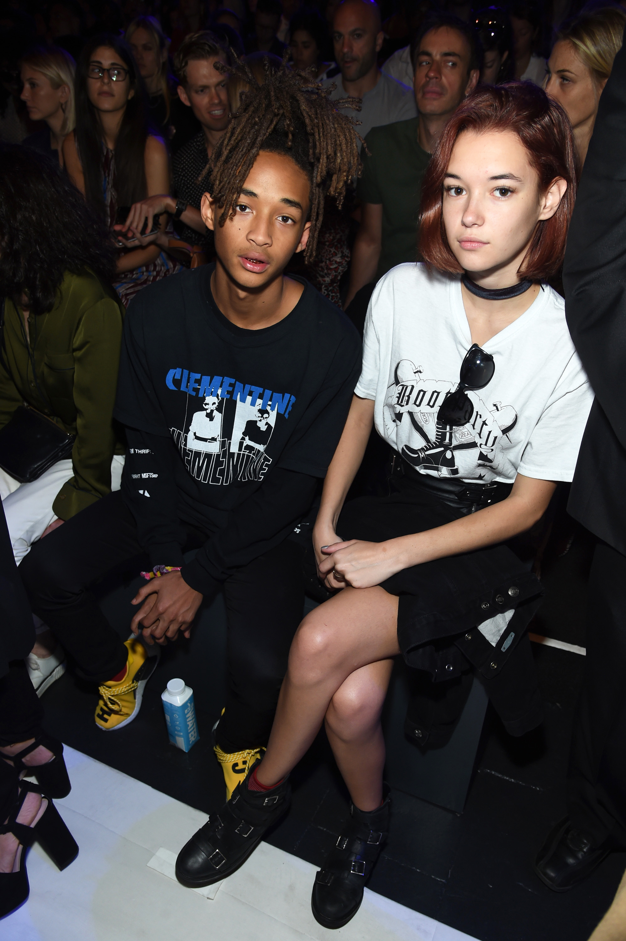 NEW YORK,   NY - SEPTEMBER 11: Jaden Smith (L) and Sarah Snyder attend the Hood By Air fashion show during New York Fashion Week: The Shows at The Arc,   Skylight at Moynihan Station on September 11,   2016 in New York City. (Photo by Jamie McCarthy/Getty Images for New York Fashion Week: The Shows)