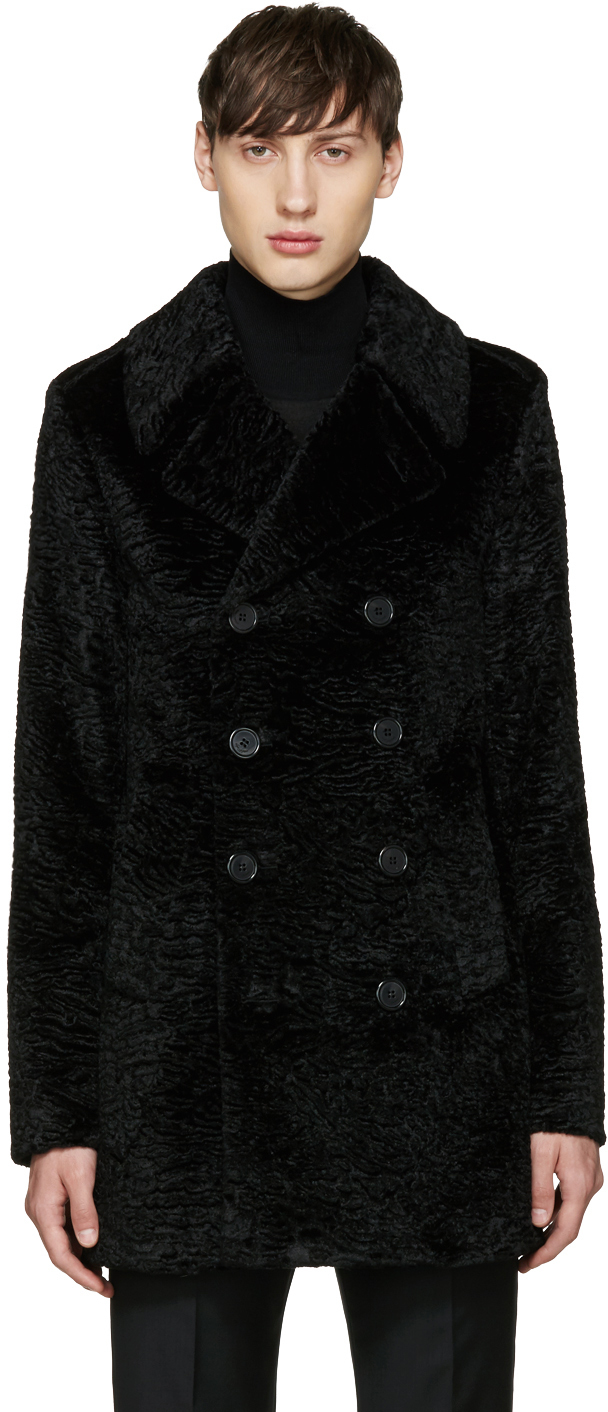 saint-laurent-black-faux-fur-peacoat