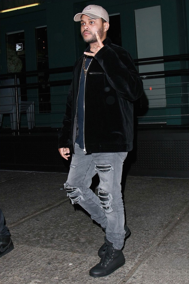 the-weeknd-amiri-jeans-rick-owens-sneakers