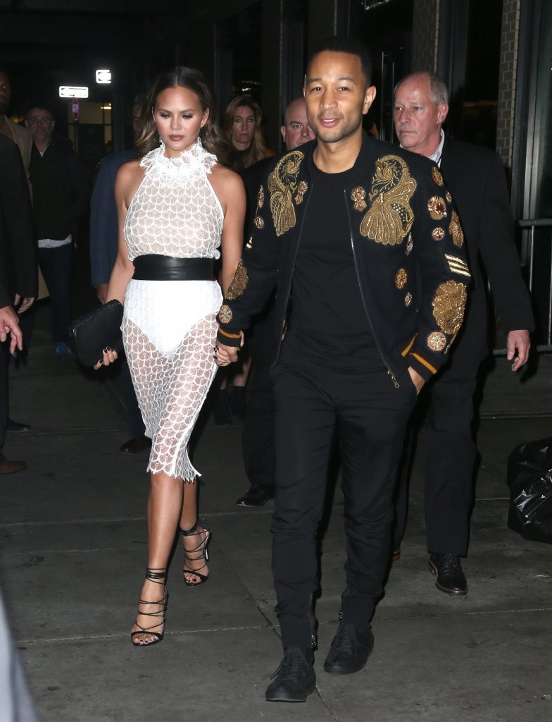 chrissy-teigen-john-legend-wears-dries-van-noten-fall-winter-2016-embroidered-navy-vinny-jacket-at-darkness-and-light-album-listening-party-and-daniel-patrick-sneakers-shoes