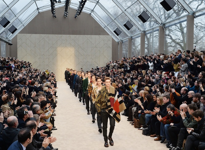 Mandatory Credit: Photo by Ray Tang/REX (3488208am) Models on the catwalk Burberry Prorsum fashion show,   London Collections: Men, Autumn Winter 2014, London, Britain- 08 Jan 2014