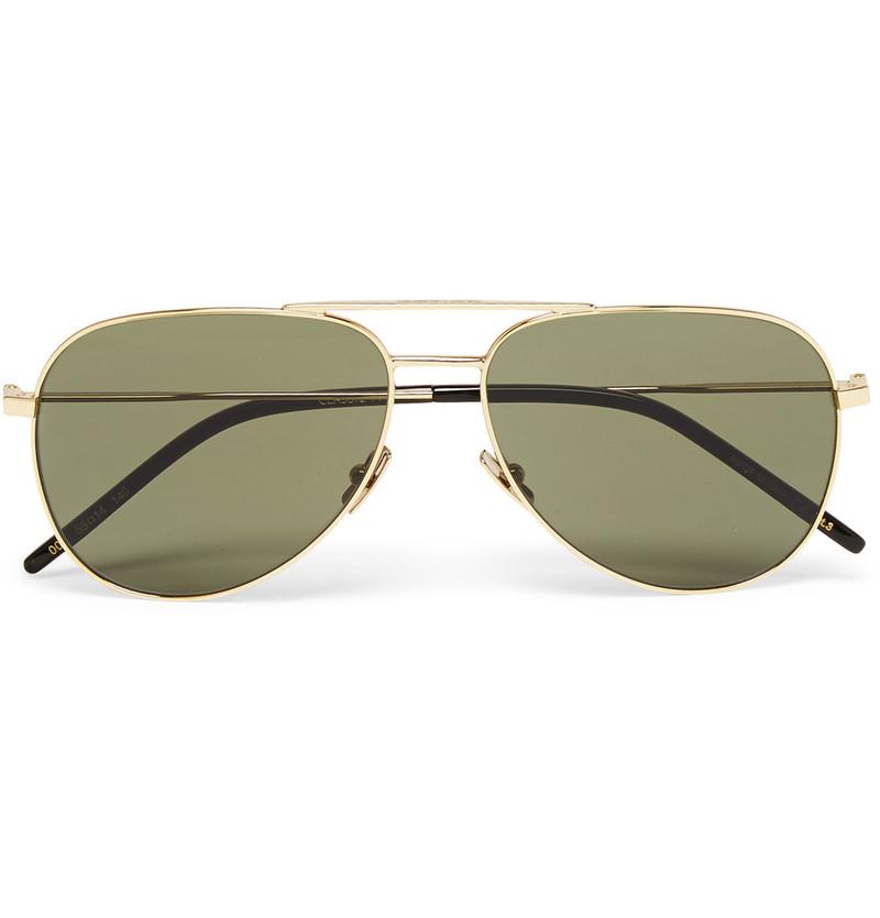 saint-laurent-aviator-gold-tone-sunglasses