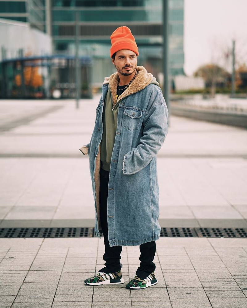 j-balvin-fear-of-god-coat-sweater-open-ceremony-beanie-adidas-original-sweatpants-bape-nmd-sneakers