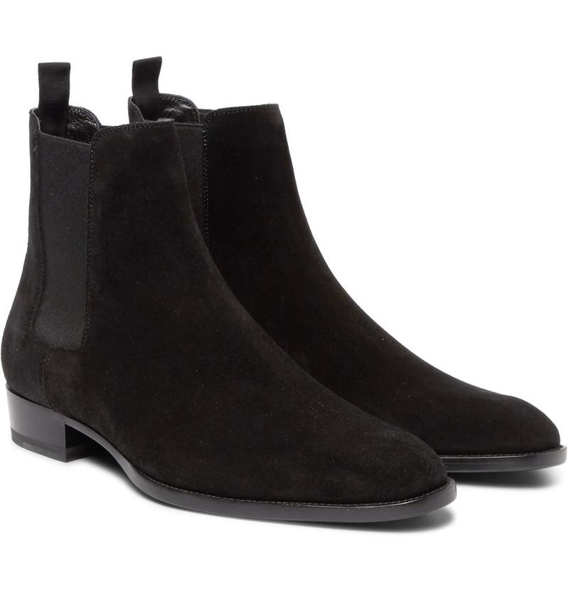 saint-laurent-black-suede-chelsea-boots
